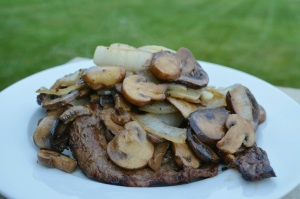 steak and mushrooms